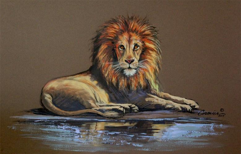 mixed media lion