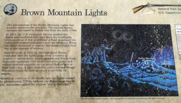 Text on Brown Mountain Lights