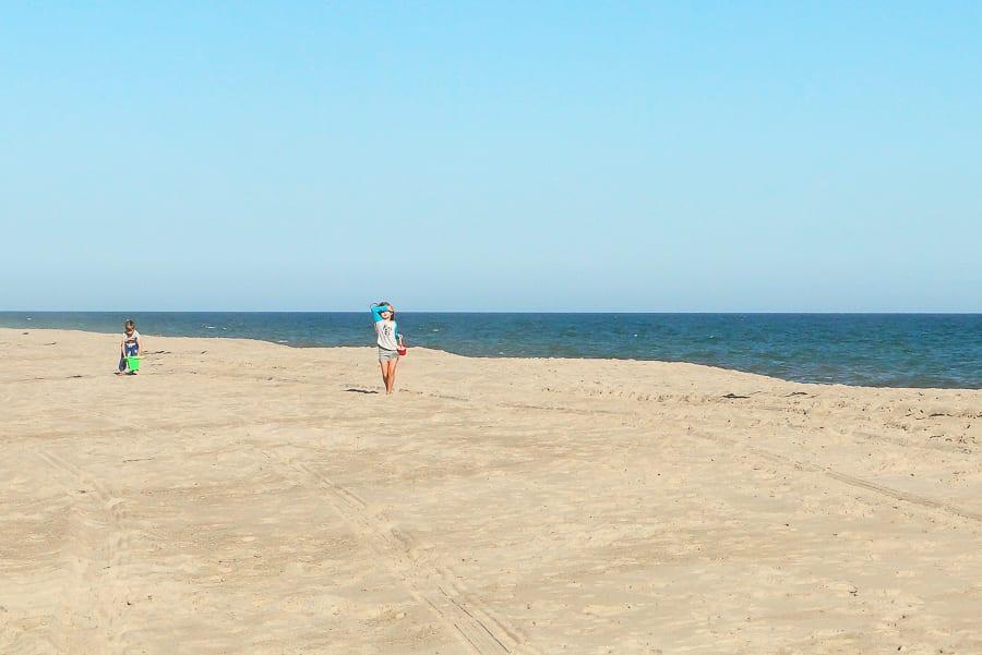 beach walk with kids
