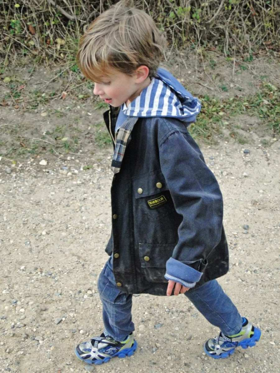 wearing Boy's barbour