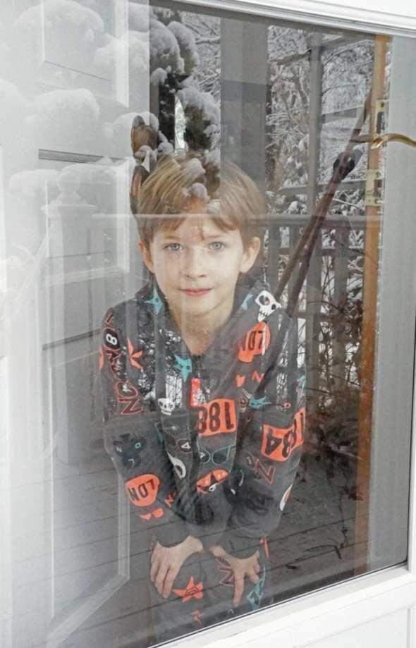 Looking through glass door