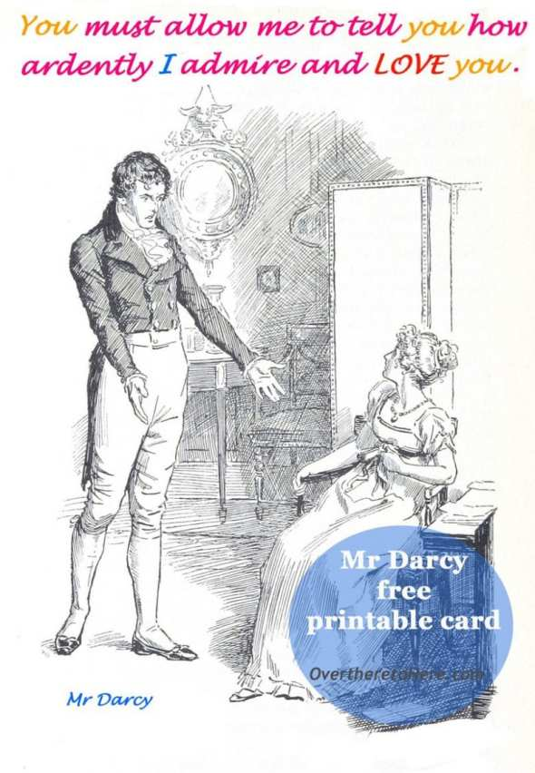 mr darcy free printable card