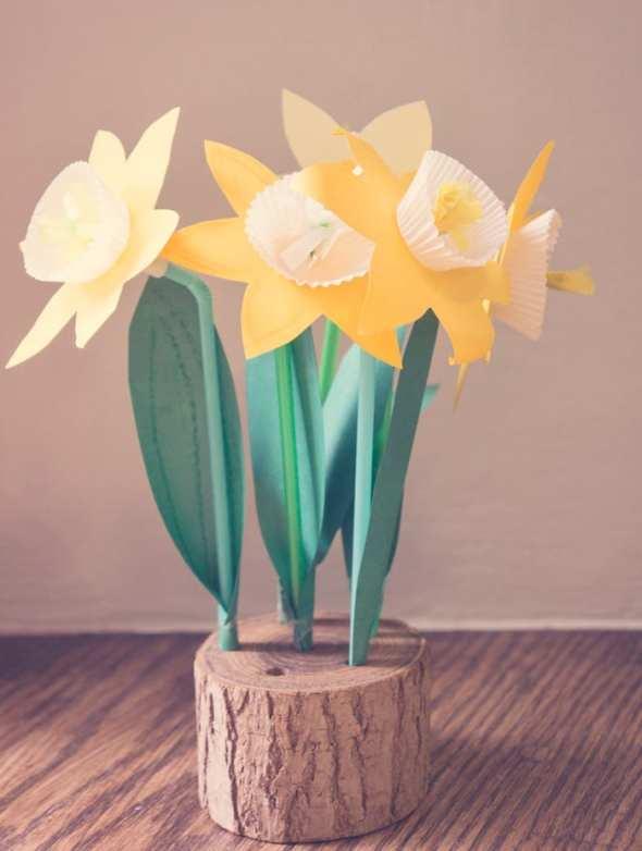 Paper Daffodils in wood base