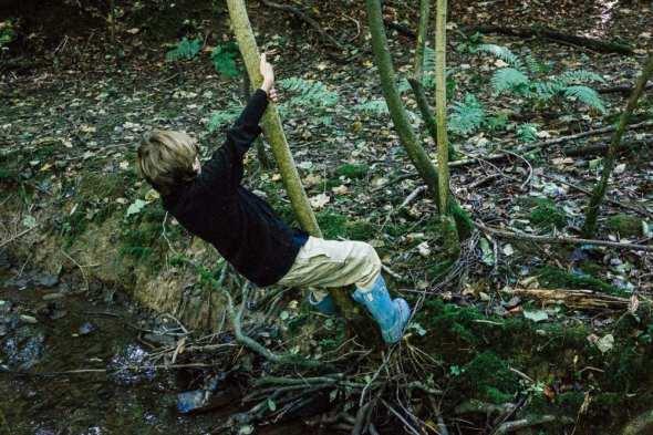 Swinging on tree by stream