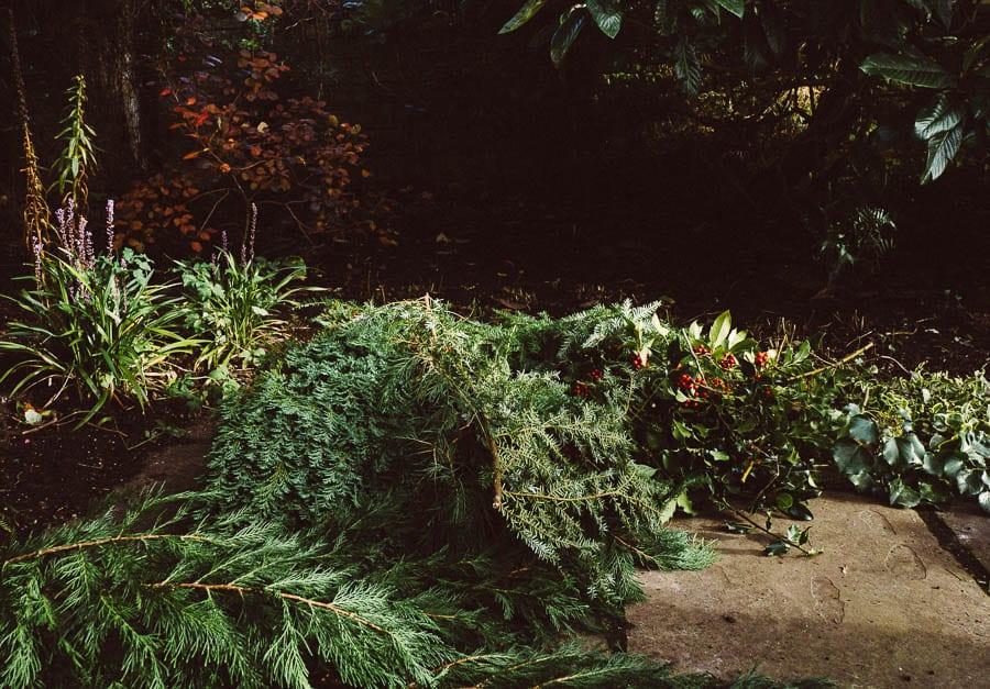 Christmas wreath spruce tree ivy holly