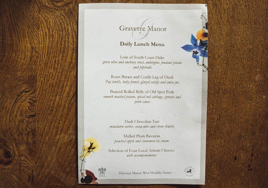 Christmas wreath Gravetye lunch menu