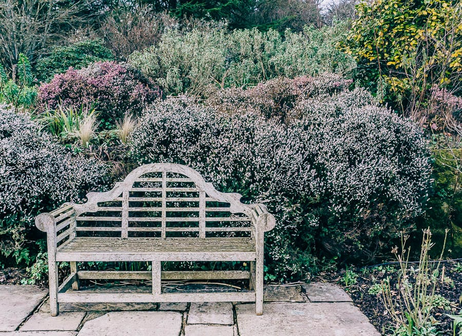 Gravetye February bench in garden