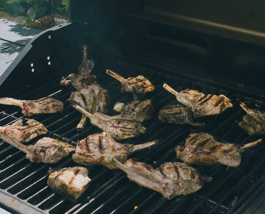 Grilled Lamb Cutlets on barbecue