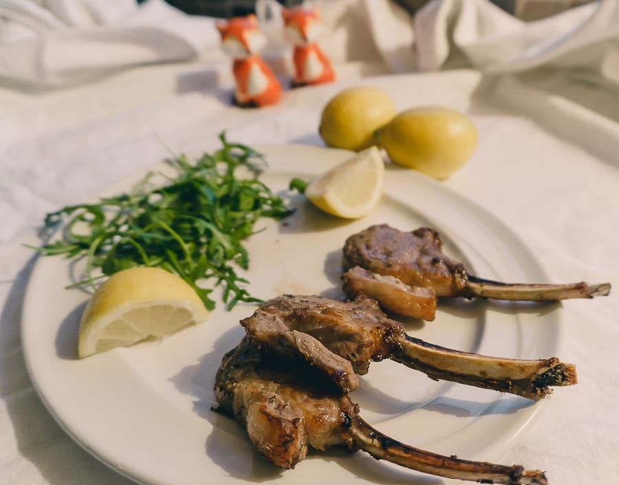 Grilled Lamb Cutlets with lemon and oregano marinade