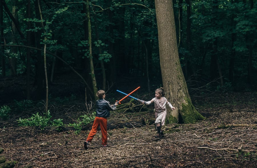 Lightsaber battle star wars adventure kids