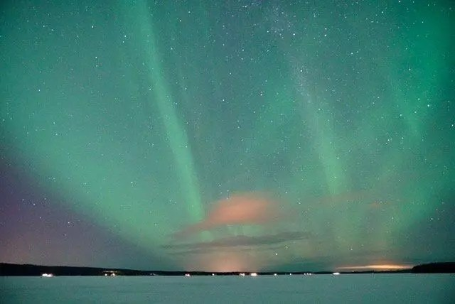 The Northern Lights filling the sky