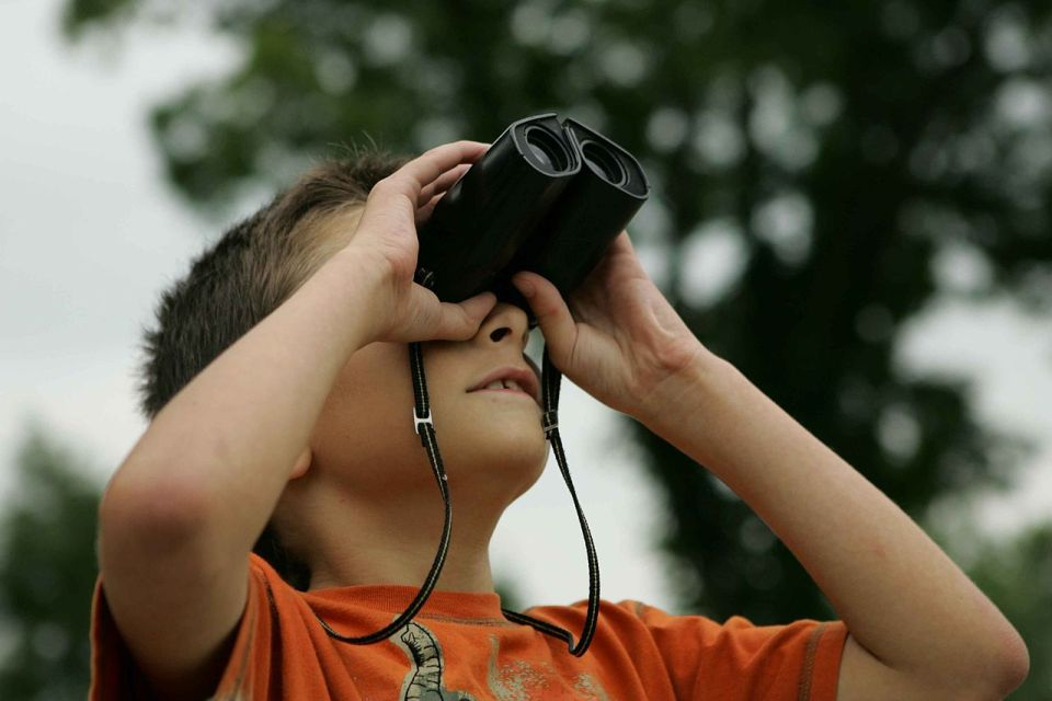 boy with binoculars in Cairngorms