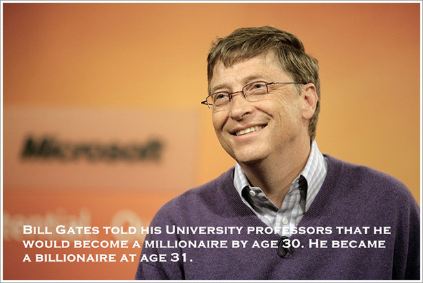 Bill Gates told his university professors that he would become a millionaire by age 30. He became a billionaire at age 31.