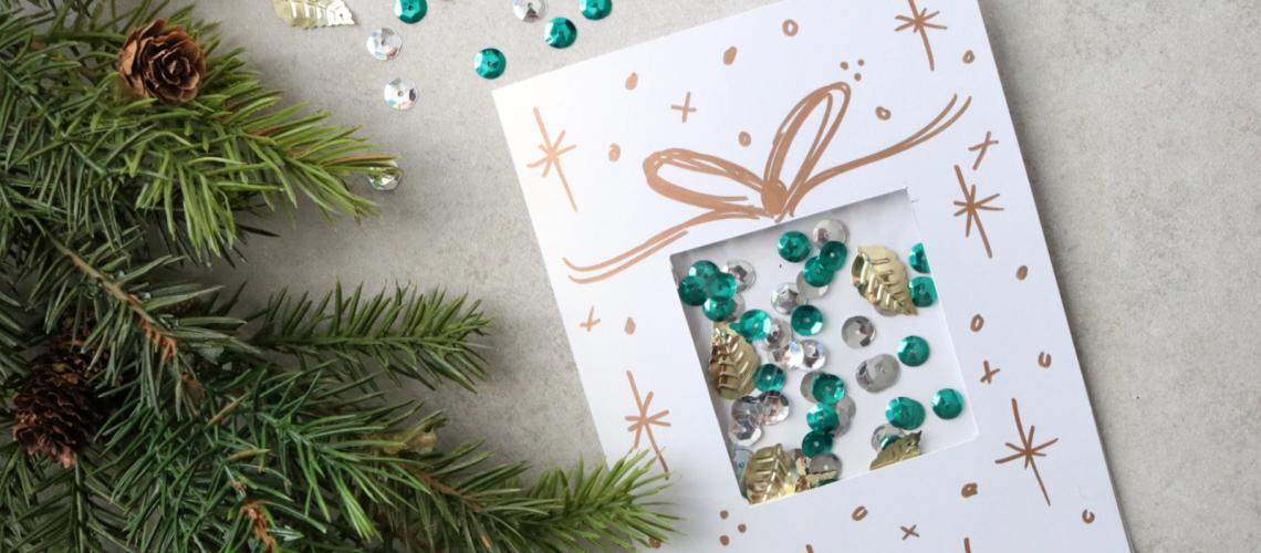 Darice DIY Christmas Confetti Card Wild Amor