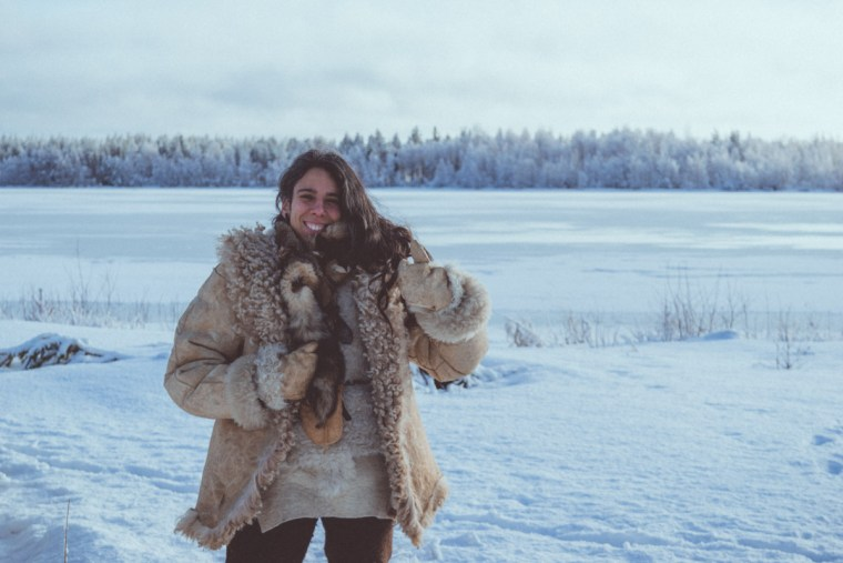 Woman wearing handmade Winter Clothes