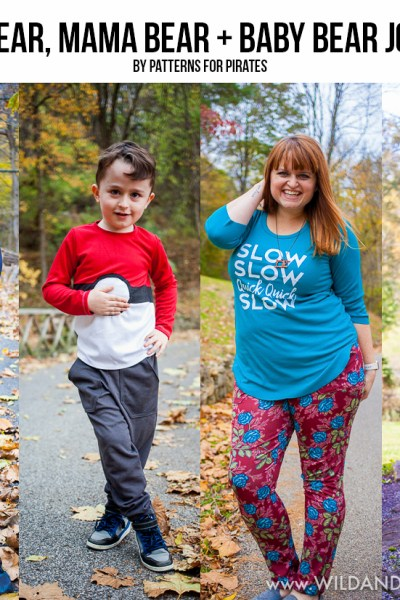 Papa, Mama + Baby Bear Joggers by Patterns for Pirates