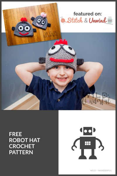 Robot Crochet Hat :: Free Pattern (via Stitch & Unwind)