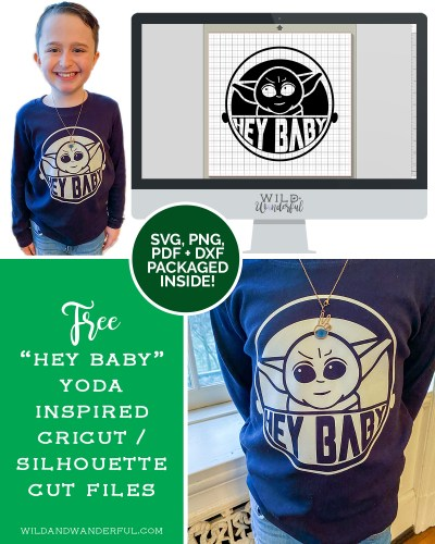 """Hey Baby"" Yoda-Inspired Design :: FREE Silhouette + Cricut Cut Files!"