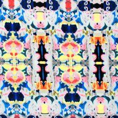 Navy Blue & Neons Kaleidoscope Techno Scuba Knit Fabric