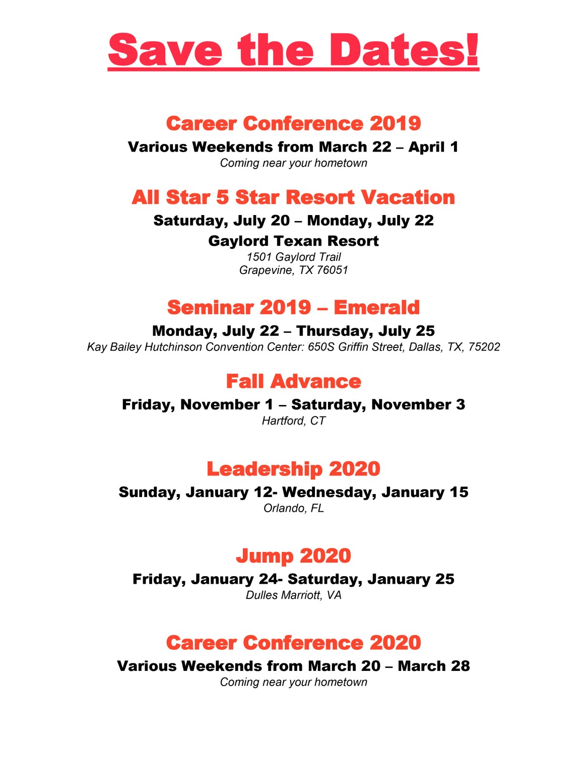 Save the Date for Upcoming Events rev 2-1