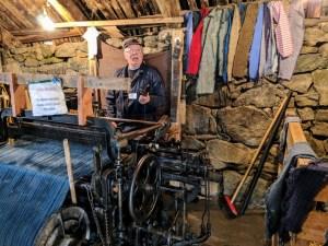 Harris Tweed weaver at Gearrannan Blackhouse Village