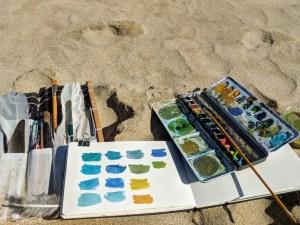 Painting on Scottish beach