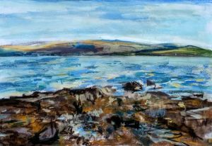 Beach near Kilchattan, Bute, Scotland, plein air painting by Karen Strang