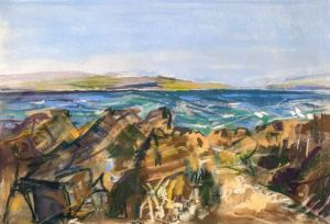 Rocky Beach at Bute, Scotland, plein air landscape painting by Wild at Art tutor Karen Strang