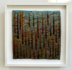 Trees Whisper, handwoven tapestry by Scottish weaver/ tapestry artist Louise Oppenheimer