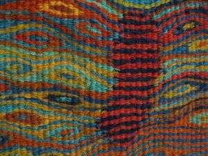 Walk in Time, handwoven tapestry by Scottish weaver/ tapestry artist Louise Oppenheimer