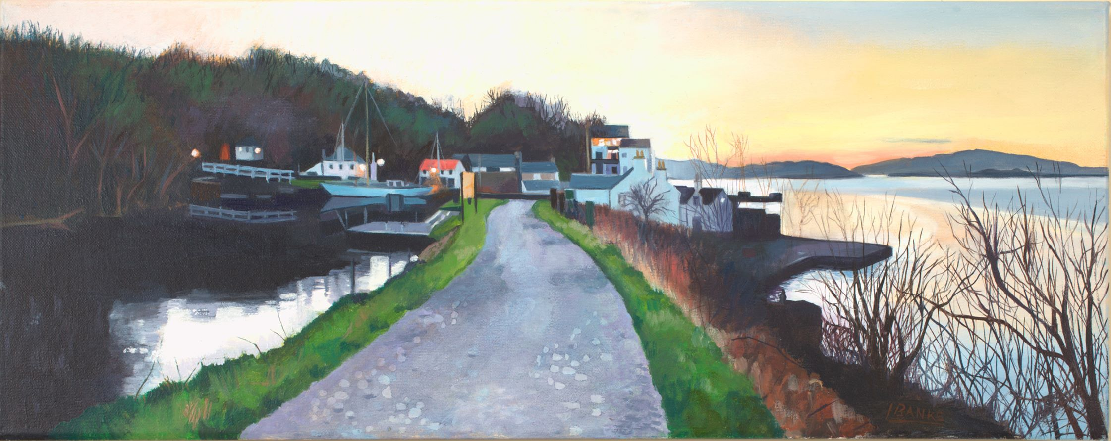 Crinan Canal by Scottish painter :Lesley Banks