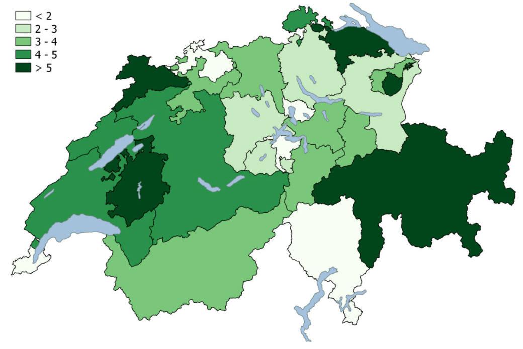 Grafik Wildunfälle Schweiz