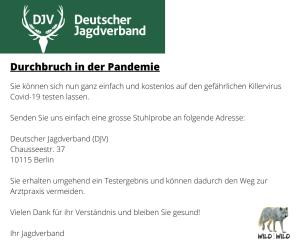 Deutscher Jagd Verband Corona Ironie: Jagd schützt. Jagd nützt.