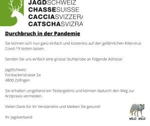 Schweizer Jagd Verband Corona Ironie: Jagd schützt. Jagd nützt.