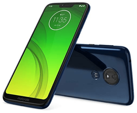Top-rated android smartphones, front and back view of the Motorola Moto G7 Power