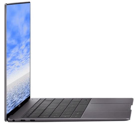 Huawei MateBook laptop, side view of the Huawei MateBook X Pro