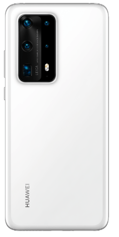 The back of the ice white Huawei P40 Pro plus from the Huawei P40 phone series
