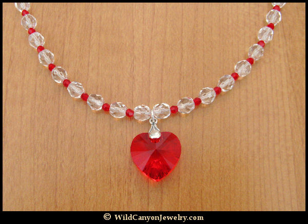 with made sterling necklace ebay crystals red heart s itm pendant silver swarovski