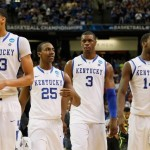 ATLANTA, GA - MARCH 25: Anthony Davis #23, Marquis Teague #25, Terrence Jones #3 and Michael Kidd-Gilchrist #14 of the Kentucky Wildcats react during the first half against the Baylor Bears during the 2012 NCAA Men's Basketball South Regional Final at the Georgia Dome on March 25, 2012 in Atlanta, Georgia. (Photo by Kevin C. Cox/Getty Images)