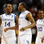 ATLANTA, GA - MARCH 23: Michael Kidd-Gilchrist #14, Darius Miller #1 and Doron Lamb #20 of the Kentucky Wildcats react during their 102 to 90 win over the Indiana Hoosiers during the 2012 NCAA Men's Basketball South Regional Semifinal game at the Georgia Dome on March 23, 2012 in Atlanta, Georgia. (Photo by Streeter Lecka/Getty Images)