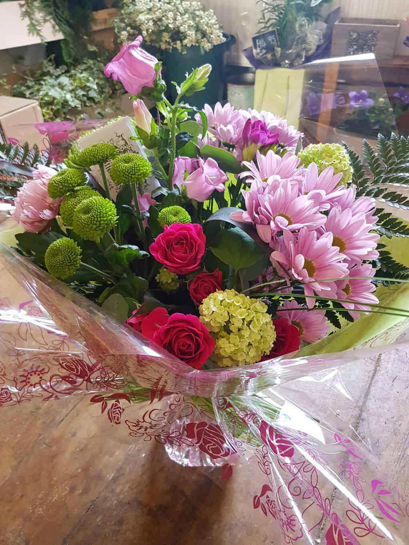 Hand Tied Bouquet in Pinks   Wild Daisy Florist