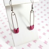 Glittery Pink Safety Pin Earrings by Wilde Designs