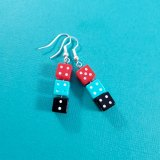 Red and Teal and Black Gamer Gear Earrings by Wilde Designs
