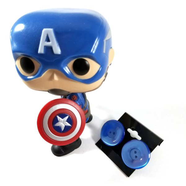 Captain America with Blue Button Earrings