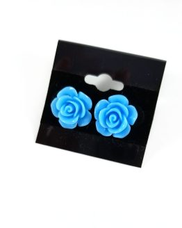 Kawaii Rose Earrings by Wilde Designs in Blue