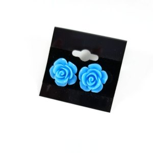 Kawaii Rose Earrings by Wilde Designs in Blue