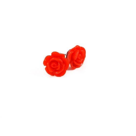 Kawaii Rose Earrings by Wilde Designs in Red