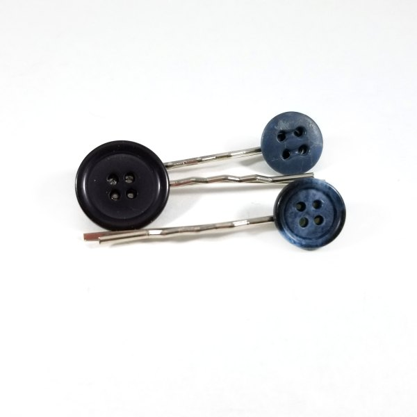Black and Blue Button Bobby Pin Set by Wilde Designs