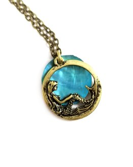 Mermaid Moon Necklace in Aqua by Wilde Designs