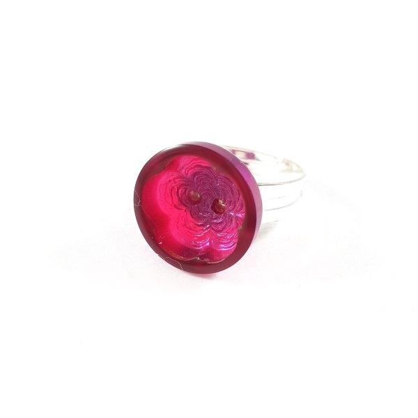 Purple Flower Button Ring by Wilde Designs